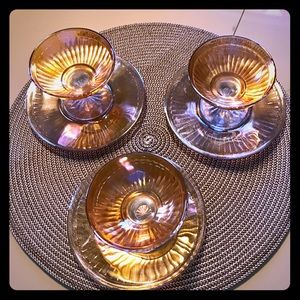 Carnival Glass 6 Place Settings parfait and plates